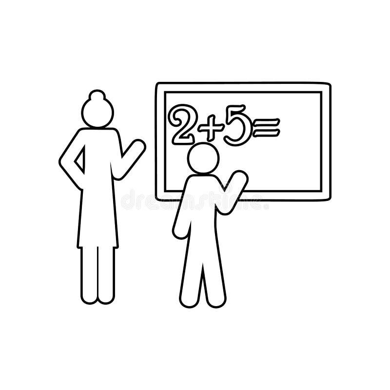 icône de leçon de maths Élément de nouveau à école pour le concept et l'icône mobiles d'applis de Web Contour, ligne mince icône  illustration stock