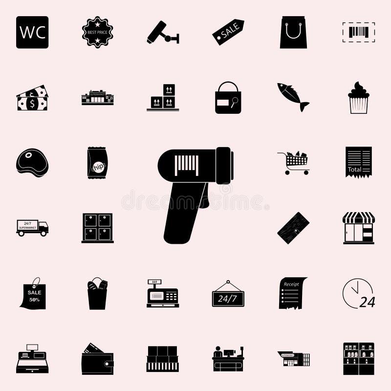 icône de lecteur de code à barres lancez l'ensemble sur le marché universel d'icônes pour le Web et le mobile illustration stock