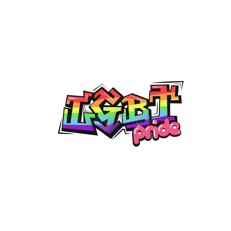 Icône de lettrage d'arc-en-ciel de LGBT Symbole de fierté de LGBT Style de graffiti illustration de vecteur