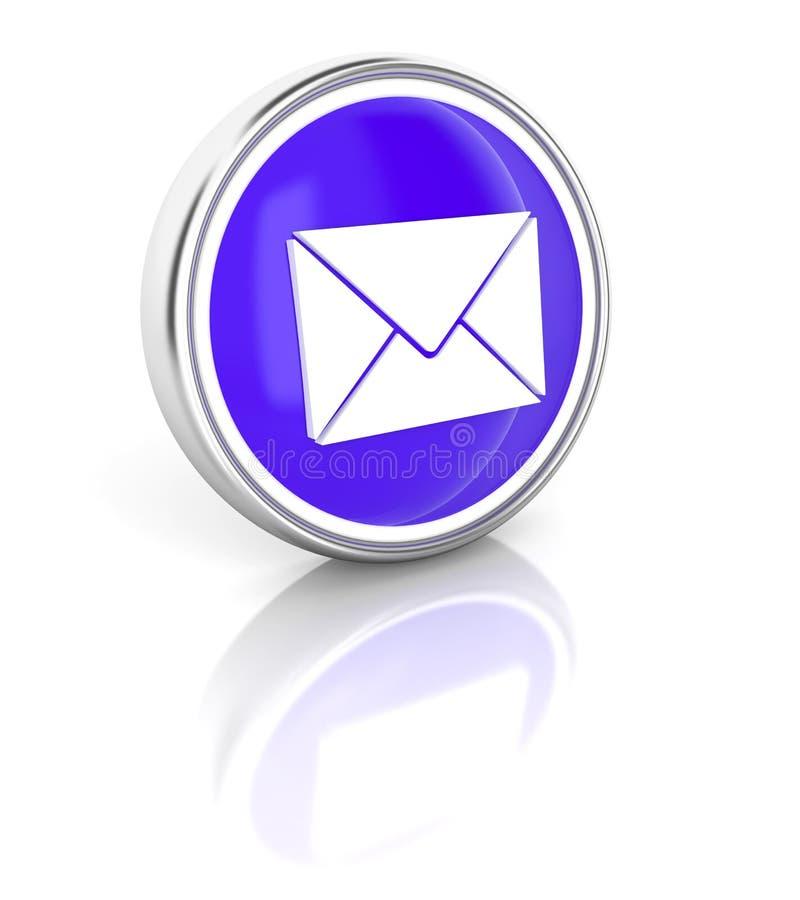 Icône de lettre sur le bouton rond bleu brillant illustration de vecteur