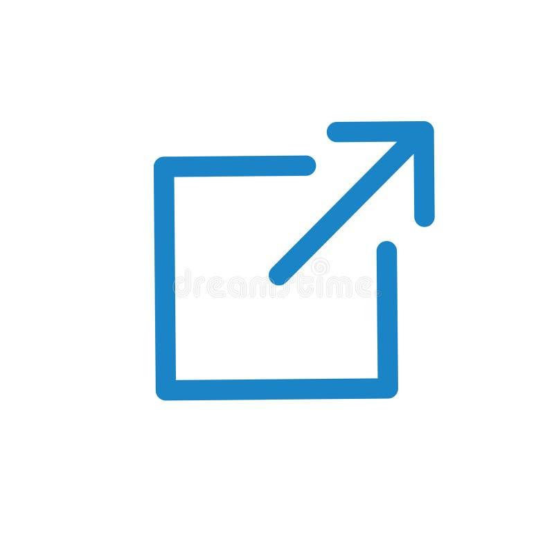 Icône de lien externe - apparence de flèche partant de l'appli pour visiter un site Web externe illustration libre de droits