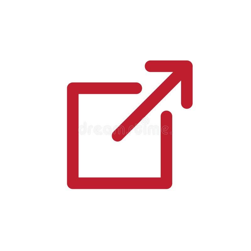Icône de lien externe avec la boîte et la flèche - icône d'UI ou d'UX illustration stock
