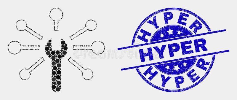 Icône de liens de clé de pixel de vecteur et timbre hyper grunge illustration stock