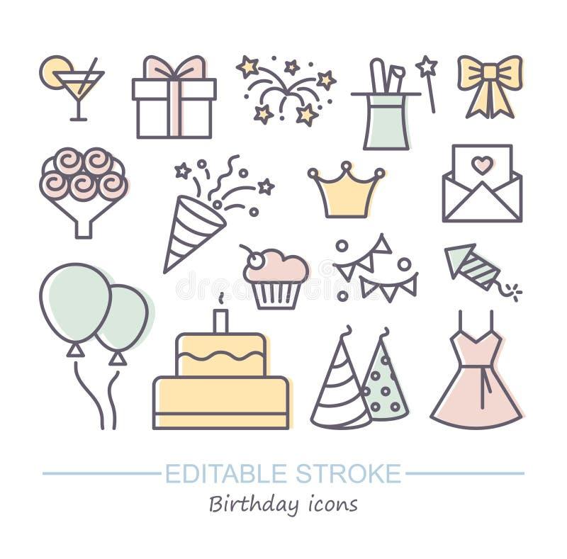 Icône de ligne d'abonné de joyeux anniversaire Illustration de vecteur avec la course editable illustration stock