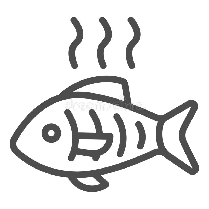 Icône de ligne de poisson chaud Illustration vectorielle de poisson grillé isolée sur blanc Le design des fruits de mer frits, co illustration stock