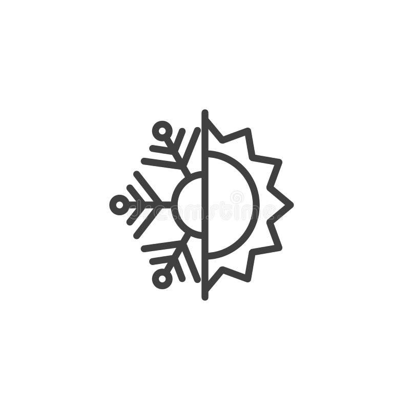 Icône de ligne thermale et résistante au froid illustration stock