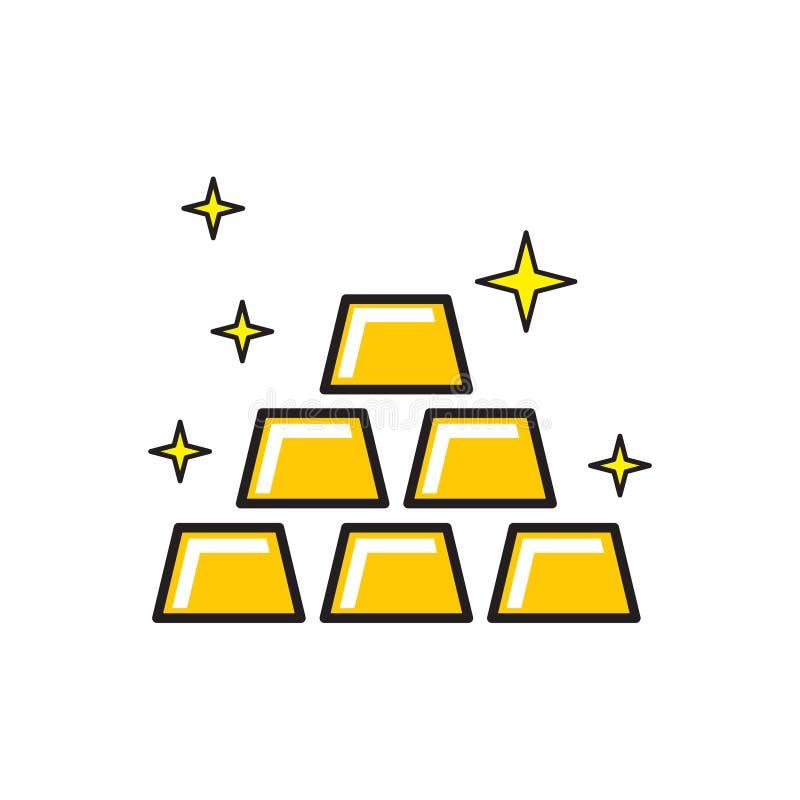 Icône de lingot d'or sur le fond blanc pour le graphique et la conception web, signe simple moderne de vecteur Internet bleu de c illustration stock