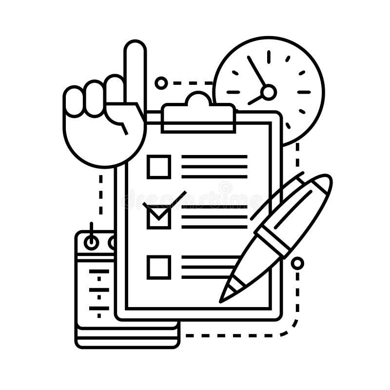 Icône de liste de contrôle avec le stylo, l'horloge, le calendrier et la main illustration stock