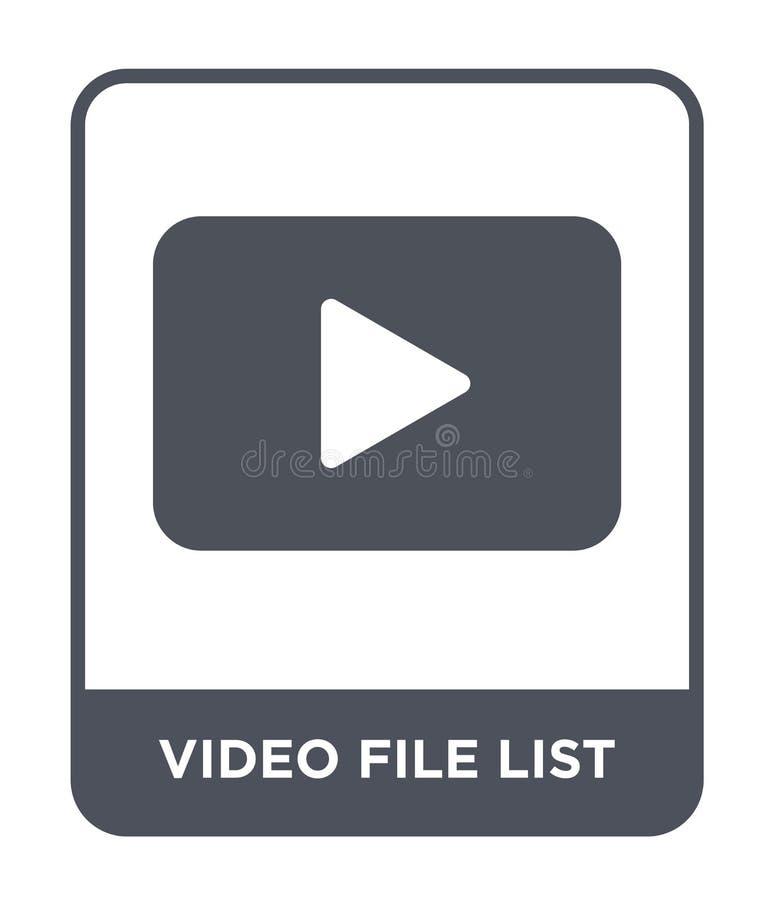 icône de liste de fichier vidéo dans le style à la mode de conception icône de liste de fichier vidéo d'isolement sur le fond bla illustration libre de droits