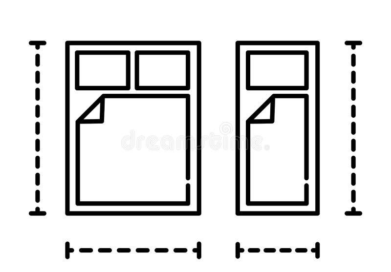 Icône de literie, icône réglée de lit, illustration de vecteur illustration libre de droits