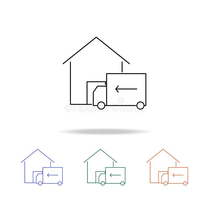 Icône de livraison à domicile Éléments des immobiliers dans les icônes colorées multi Icône de la meilleure qualité de conception illustration stock