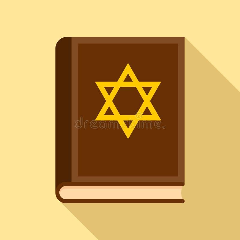 Icône de livre de Torah, style plat illustration de vecteur