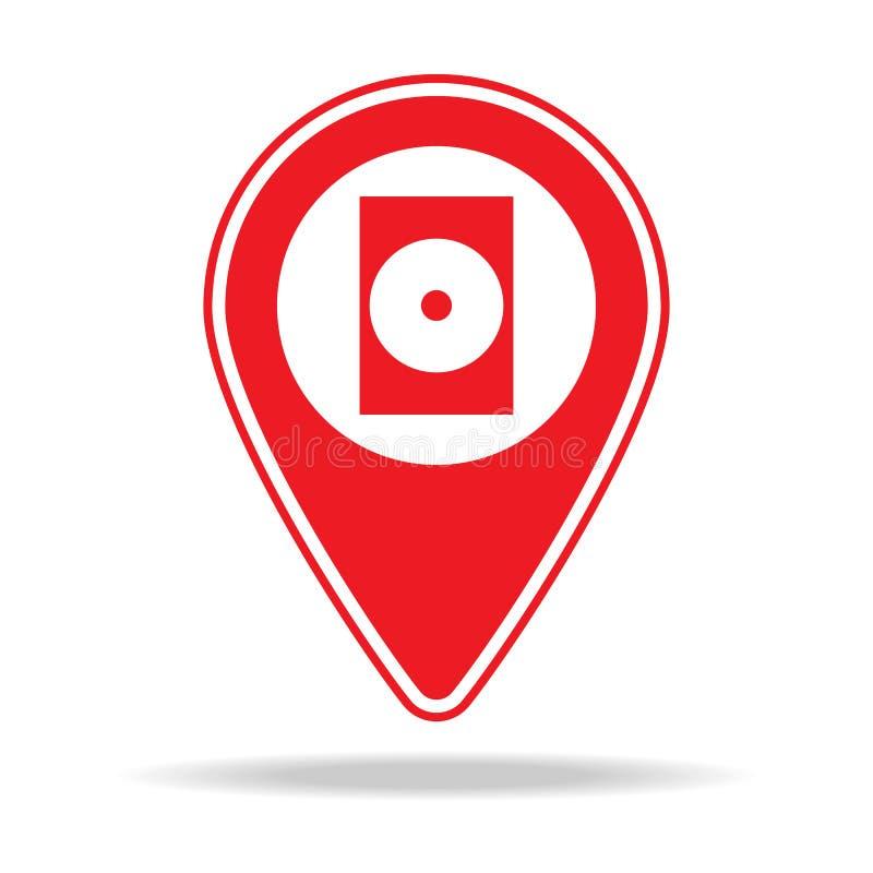 icône de location de goupille de carte de film Élément d'icône d'avertissement de goupille de navigation pour les apps mobiles de illustration de vecteur