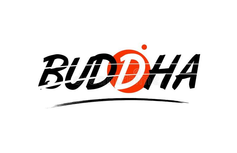 icône de logo des textes de mot de Bouddha avec la conception rouge de cercle illustration de vecteur