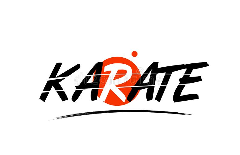 icône de logo des textes de mot de karaté avec la conception rouge de cercle illustration libre de droits