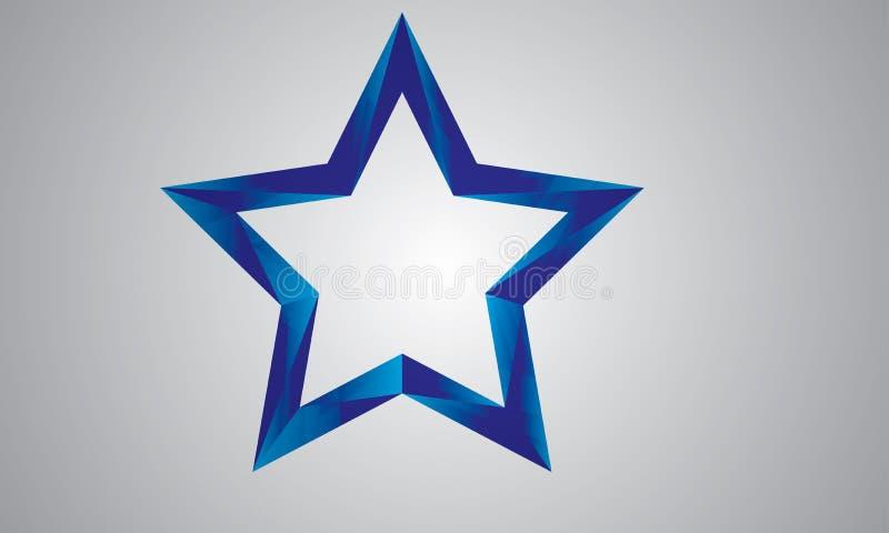 icône de logo de l'étoile 3D bleue illustration stock