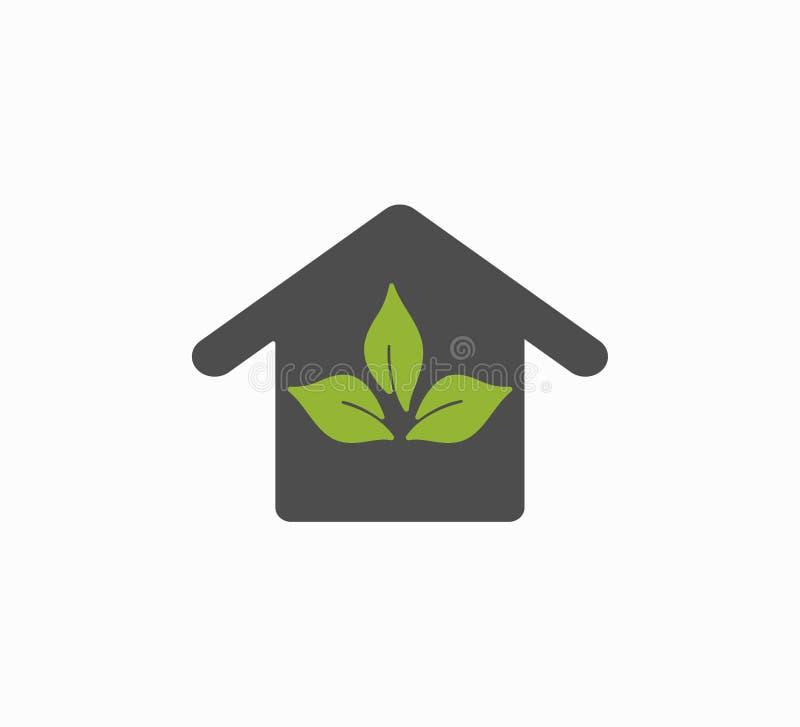 Icône de logo de maison d'Eco, système d'eco Plan rapproché de maison de vecteur illustration stock