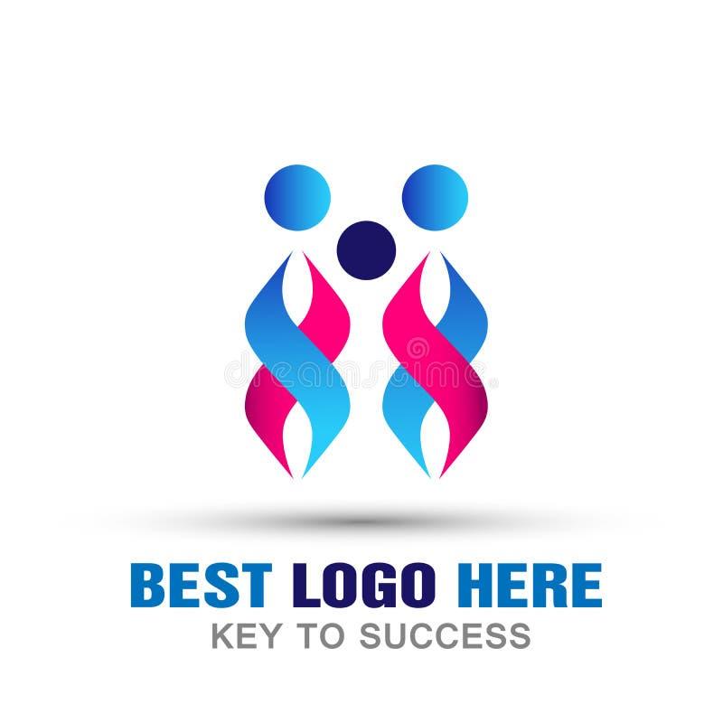 Icône de logo de soin des syndicats de personnes de famille sur le fond blanc illustration libre de droits