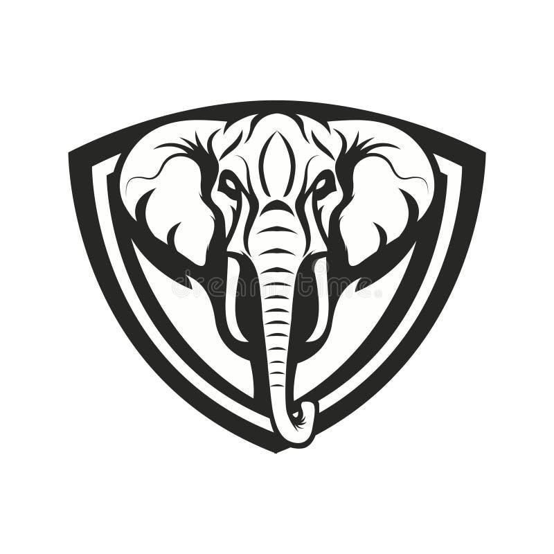 Icône de logo de sport d'emblème d'illustration de conception d'éléphant de mascotte d'isolement photos stock
