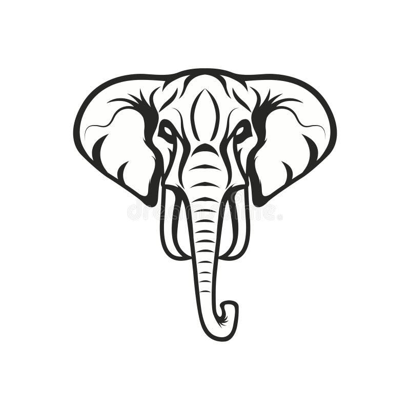 Icône de logo de sport d'emblème d'illustration de conception d'éléphant de mascotte d'isolement photographie stock
