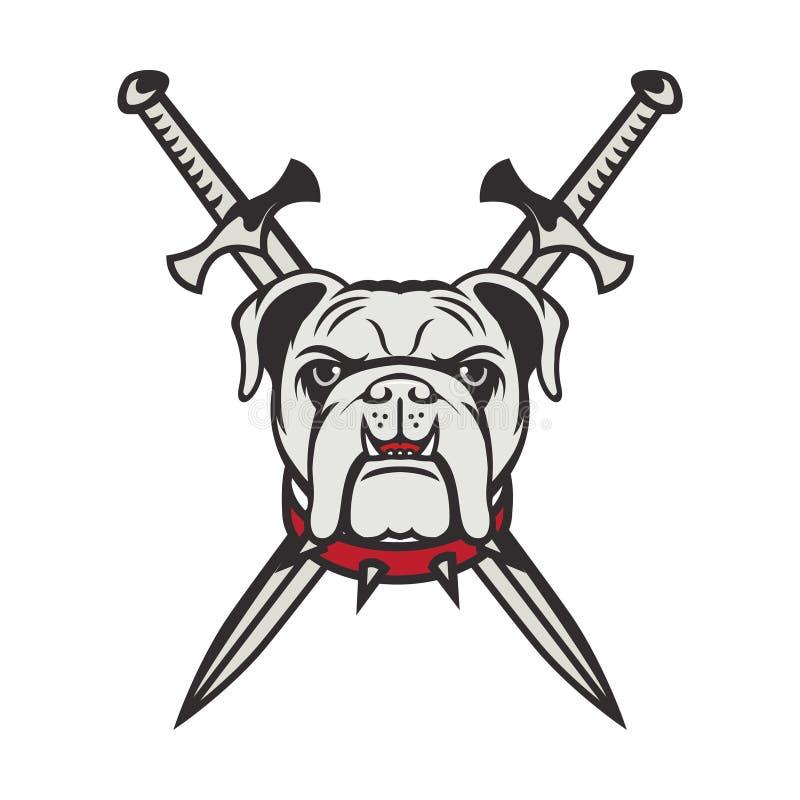 Icône de logo de sport d'emblème d'illustration de conception de chien de mascotte d'isolement photos stock