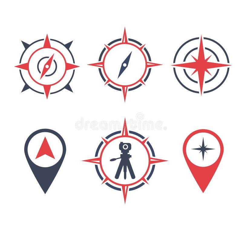 Icône de logo de terre d'enquête d'illustration de vecteur avec la boussole et la caméra d'emplacement illustration stock