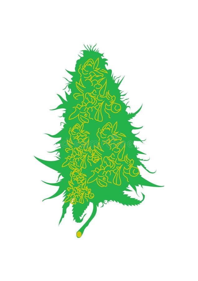 Icône de logo de vecteur de chanvre de cannabis de kola illustration libre de droits