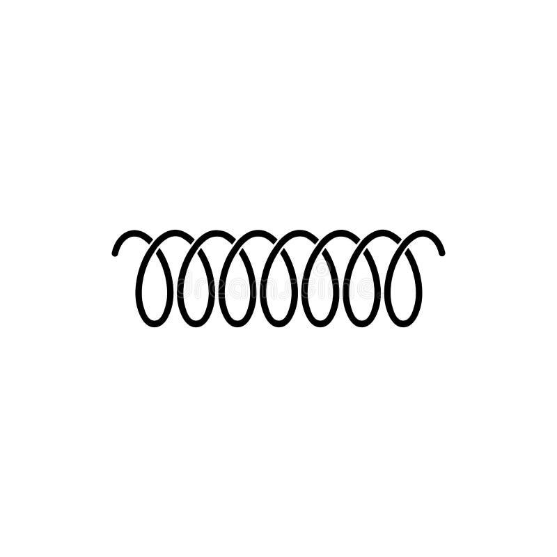 Icône de logo de vecteur de ressort en spirale de ligne de remous ou de corde incurvée de fil illustration de vecteur