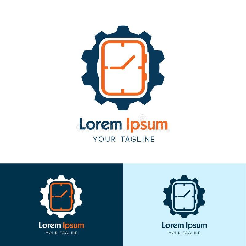 Icône de logo de vitesse d'horloge, vecteur de service d'horloge illustration de vecteur