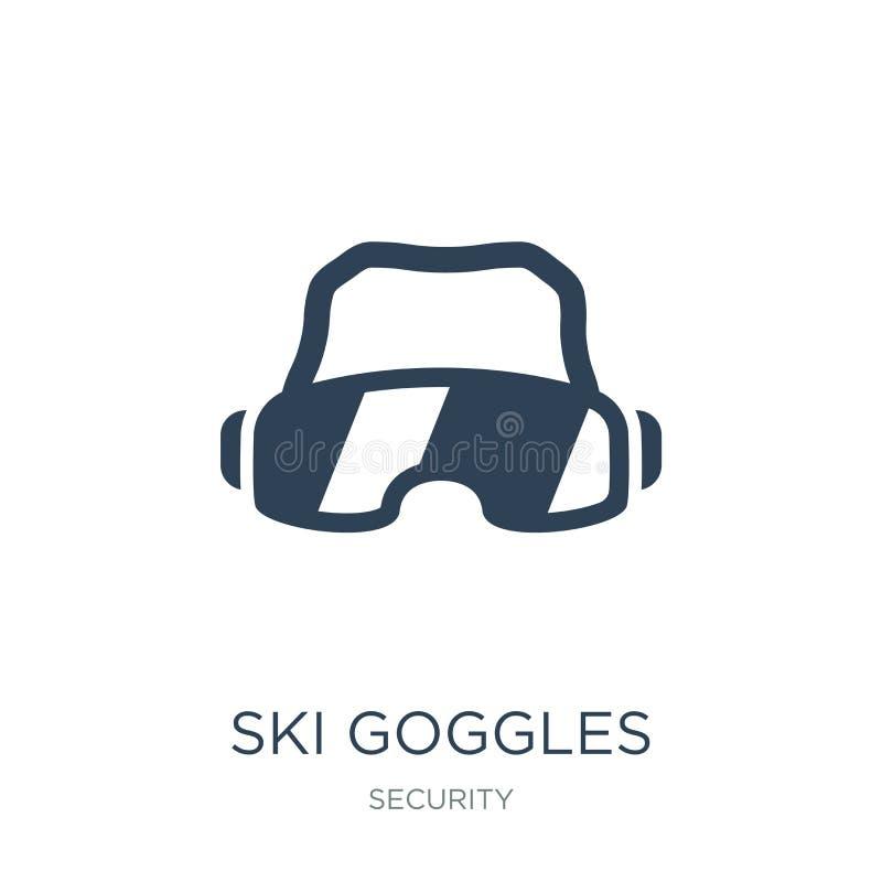 icône de lunettes de ski dans le style à la mode de conception Icône de lunettes de ski d'isolement sur le fond blanc les lunette illustration stock