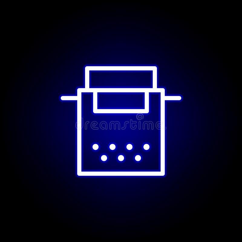Icône de machine à écrire dans le style au néon Peut ?tre employ? pour le Web, logo, l'appli mobile, UI, UX illustration libre de droits