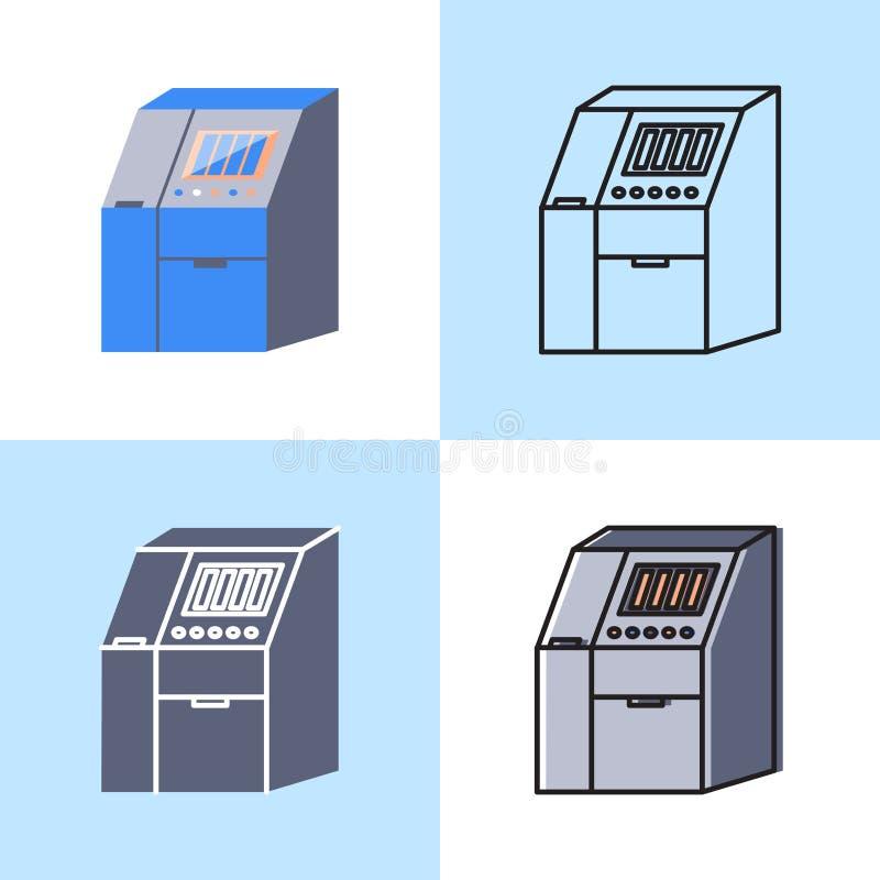 Ic?ne de machine de Sequenator r?gl?e dans l'appartement et la ligne style illustration libre de droits
