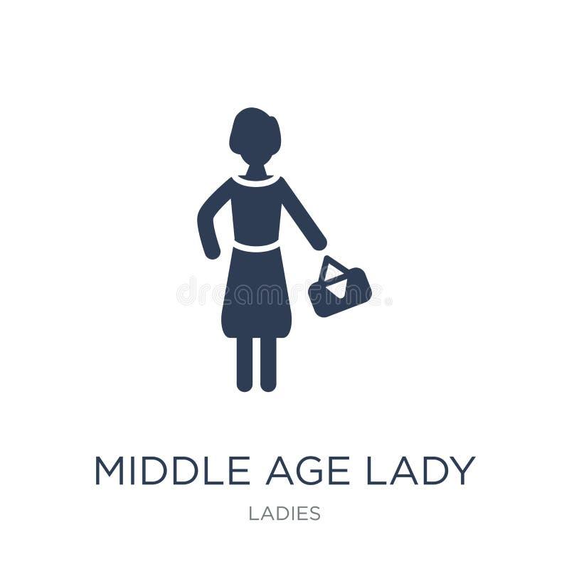 Icône de Madame de Moyen Âge Icône plate à la mode de Madame de Moyen Âge de vecteur dessus illustration stock