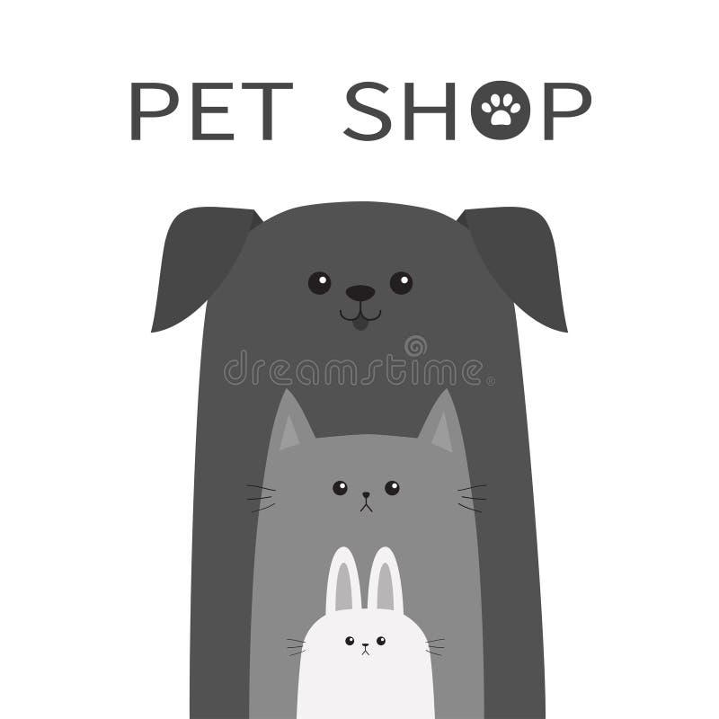 Icône de magasin de bêtes Animal de lièvres de lapin de chat de chien Animaux familiers heureux réglés Paw Print illustration stock