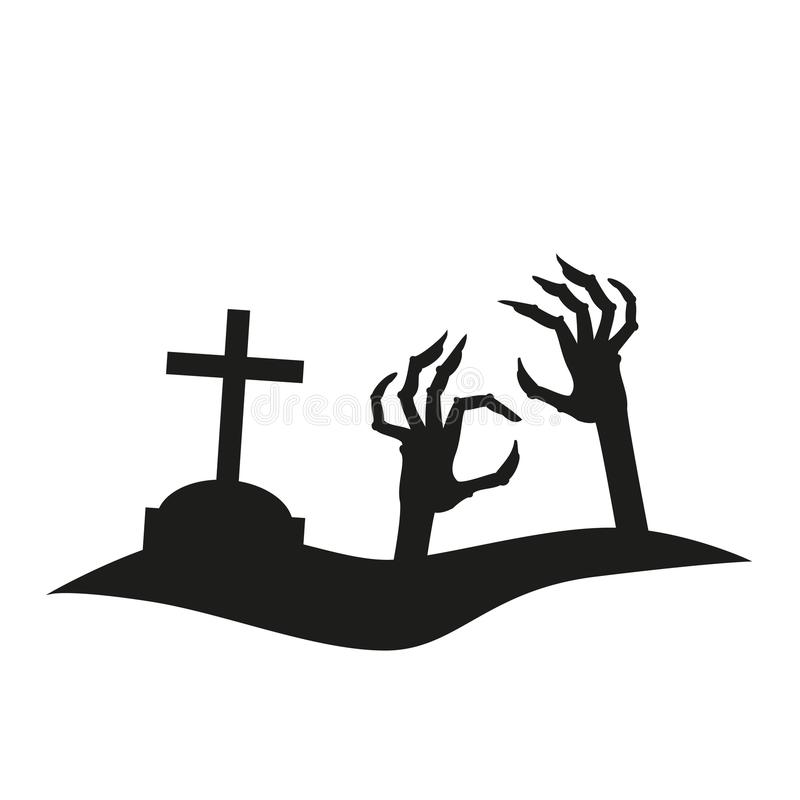 Icône de main atteignant de la tombe illustration libre de droits