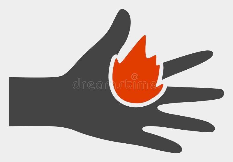 Icône de main de brûlure de trame sur le fond blanc illustration stock