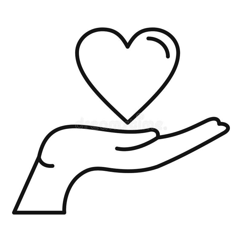 Icône de main de coeur, style d'ensemble illustration stock