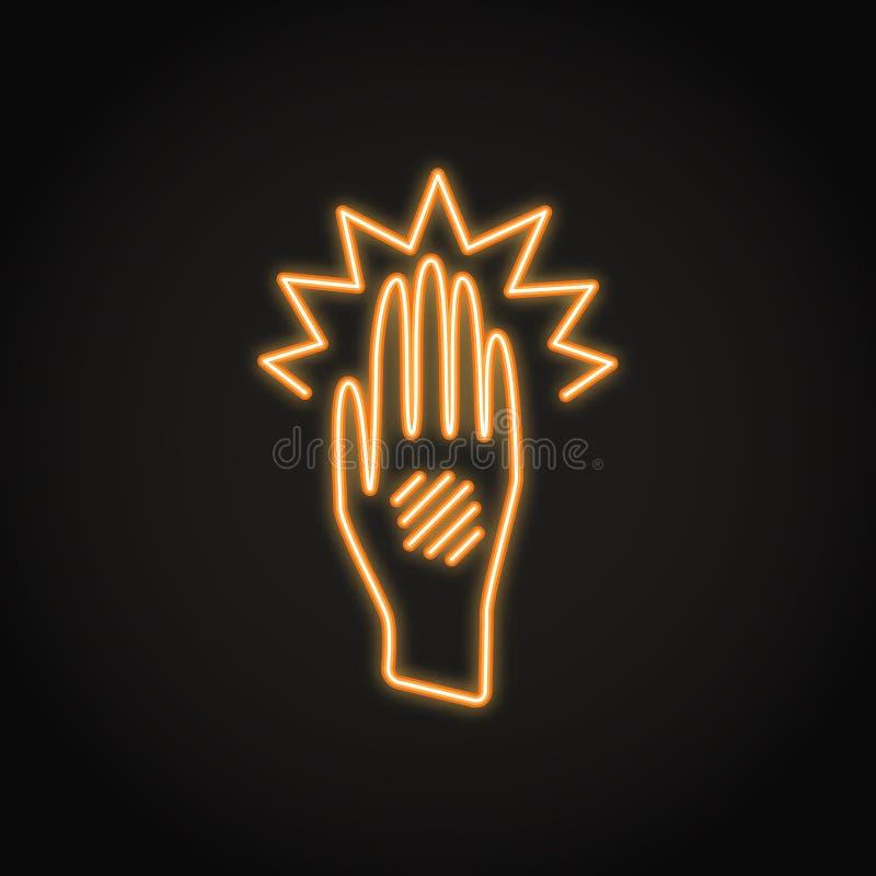 Icône de main d'Eczema dans la ligne style au néon illustration de vecteur
