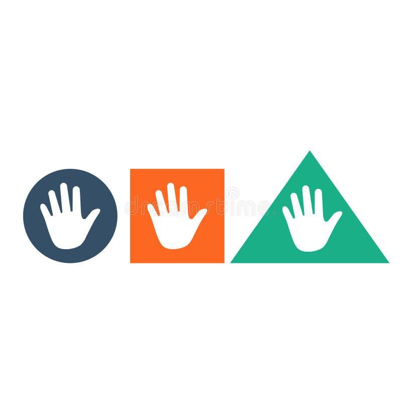 Icône de main dans la place et la triangle de cercle toutes les différentes couleurs Badine l'éducation Concept de contact Illust illustration de vecteur