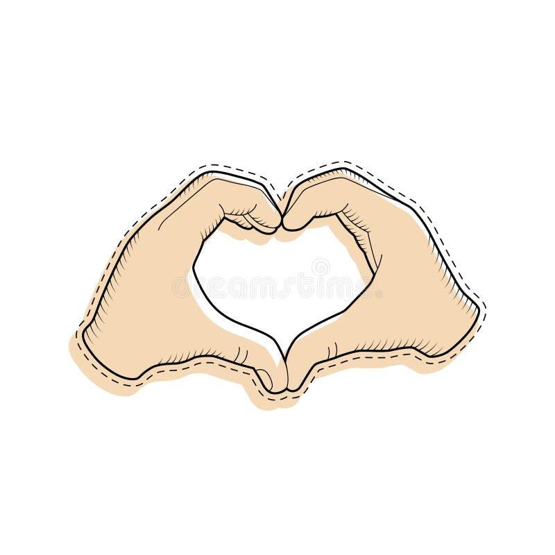 Icône de main dans le style de croquis Dirigez l'icône de main montrant un geste de coeur d'amour illustration stock