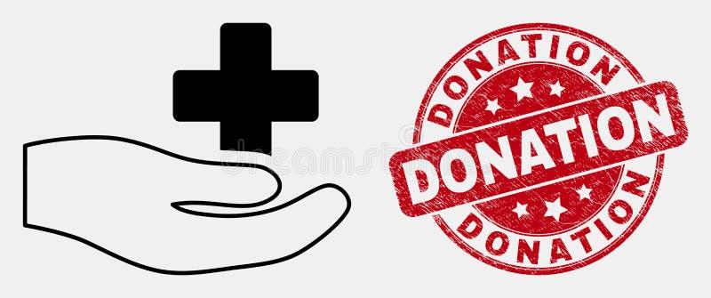 Icône de main de donation d'ensemble de vecteur et filigrane médicaux de donation de détresse illustration libre de droits