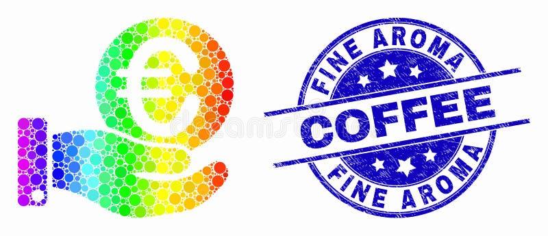 Icône de main de donation de pièce de monnaie de pixel spectral de vecteur euro et joint fin rayé de café d'arome illustration stock