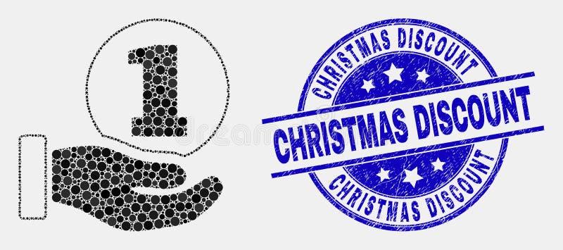 Icône de main de donation de pièce de monnaie de Pixelated de vecteur et filigrane grunge de remise de Noël illustration stock