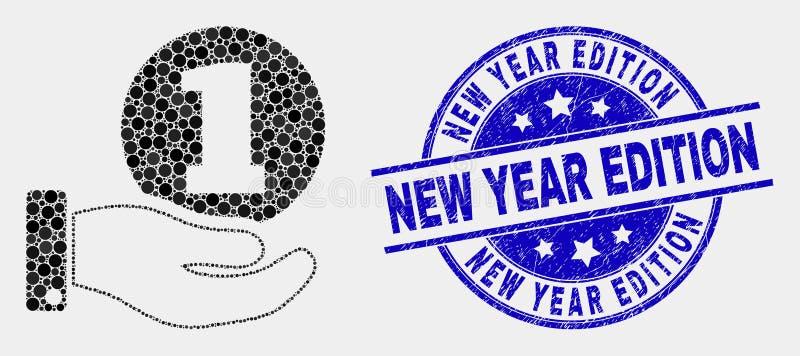 Icône de main de donation de pièce de monnaie pointillée par vecteur et joint rayé de timbre d'édition de nouvelle année illustration libre de droits
