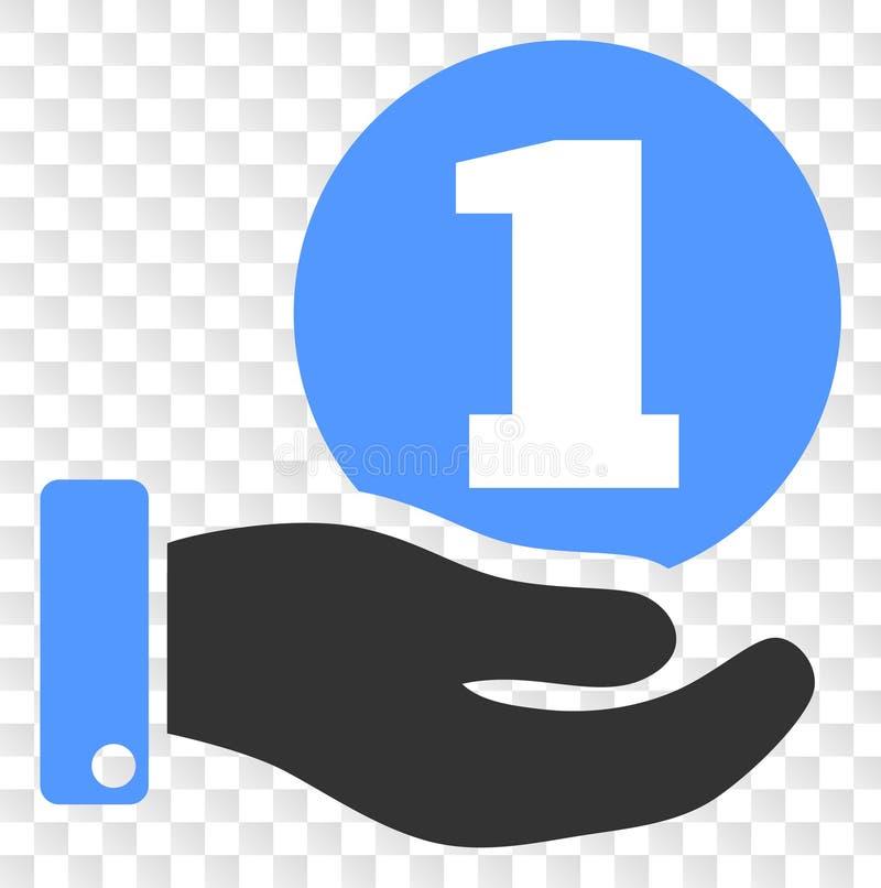 Icône de main de donation de pièce de monnaie de vecteur sur le fond transparent d'échecs illustration libre de droits