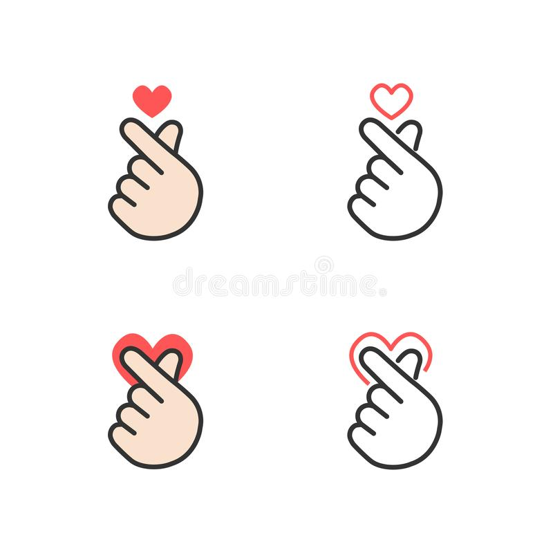 Icône de main faisant le petit coeur, je t'aime ou le mini signe de coeur d'isolement sur le fond blanc illustration de vecteur