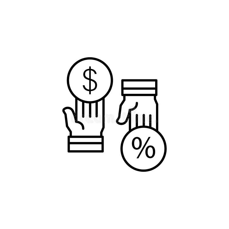 Icône de mains du dollar de pour cent de la Commission Élément de ligne icône de motivation d'affaires illustration de vecteur