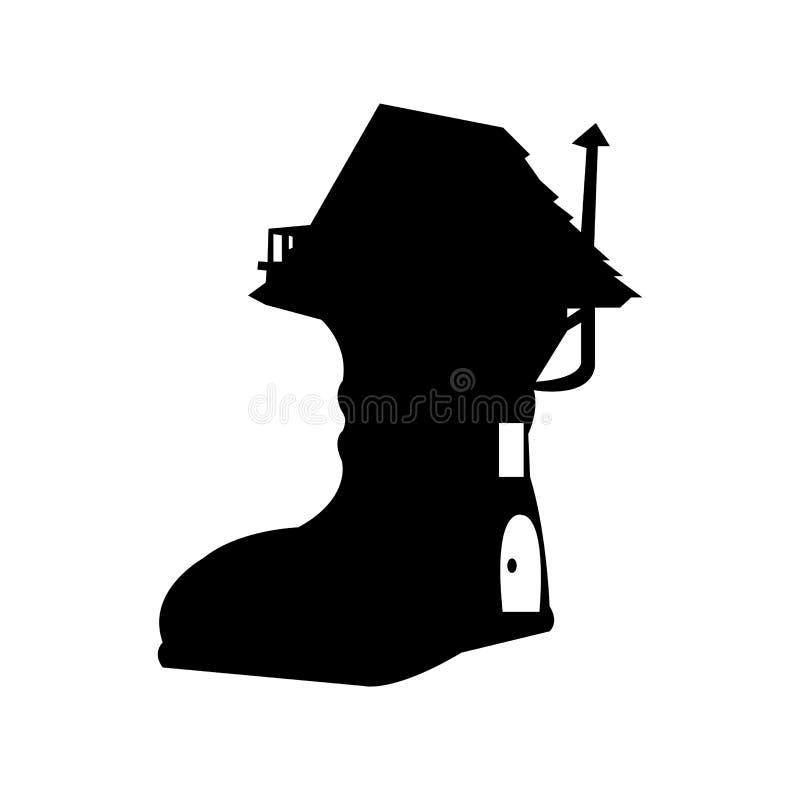 Icône de maison de botte d'isolement sur le fond blanc illustration de vecteur