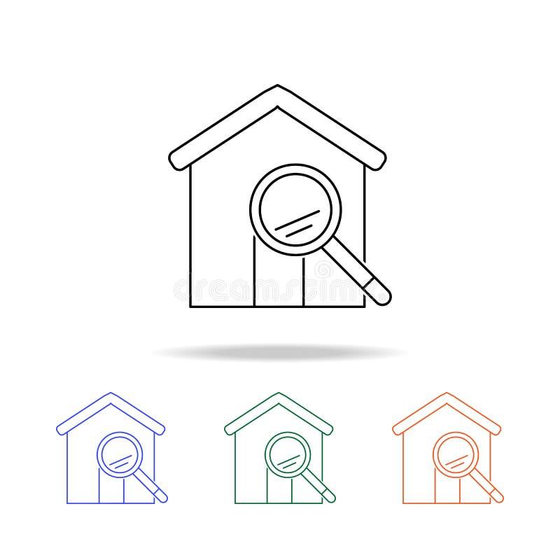 Icône de maison de loupe Éléments des immobiliers dans les icônes colorées multi Icône de la meilleure qualité de conception grap illustration stock