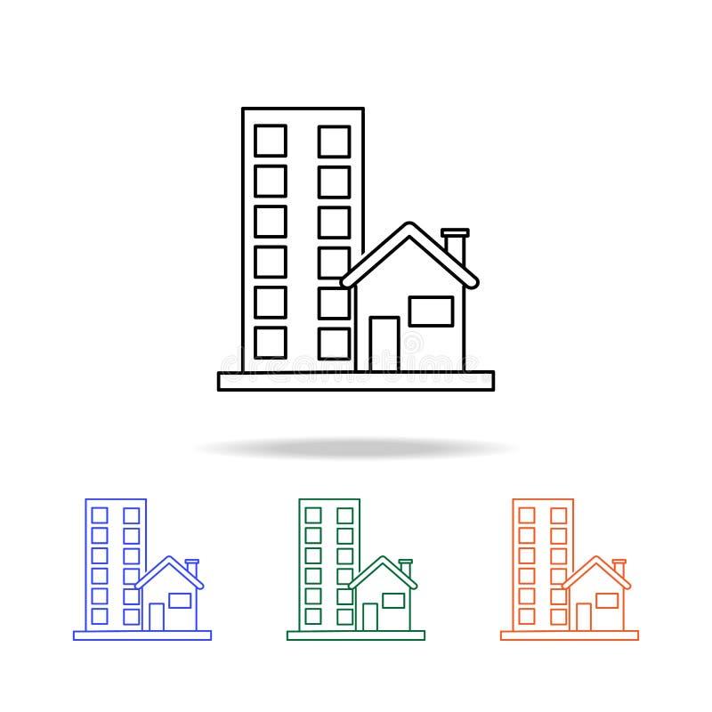 Icône de maison de rue Éléments des immobiliers dans les icônes colorées multi Icône de la meilleure qualité de conception graphi illustration de vecteur